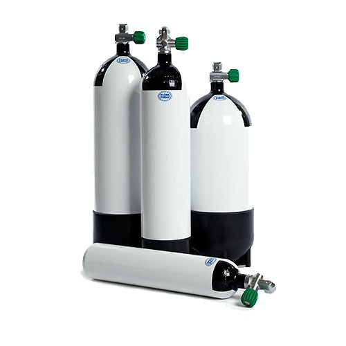 300 BAR Steel Bailout Cylinders with convertible valves