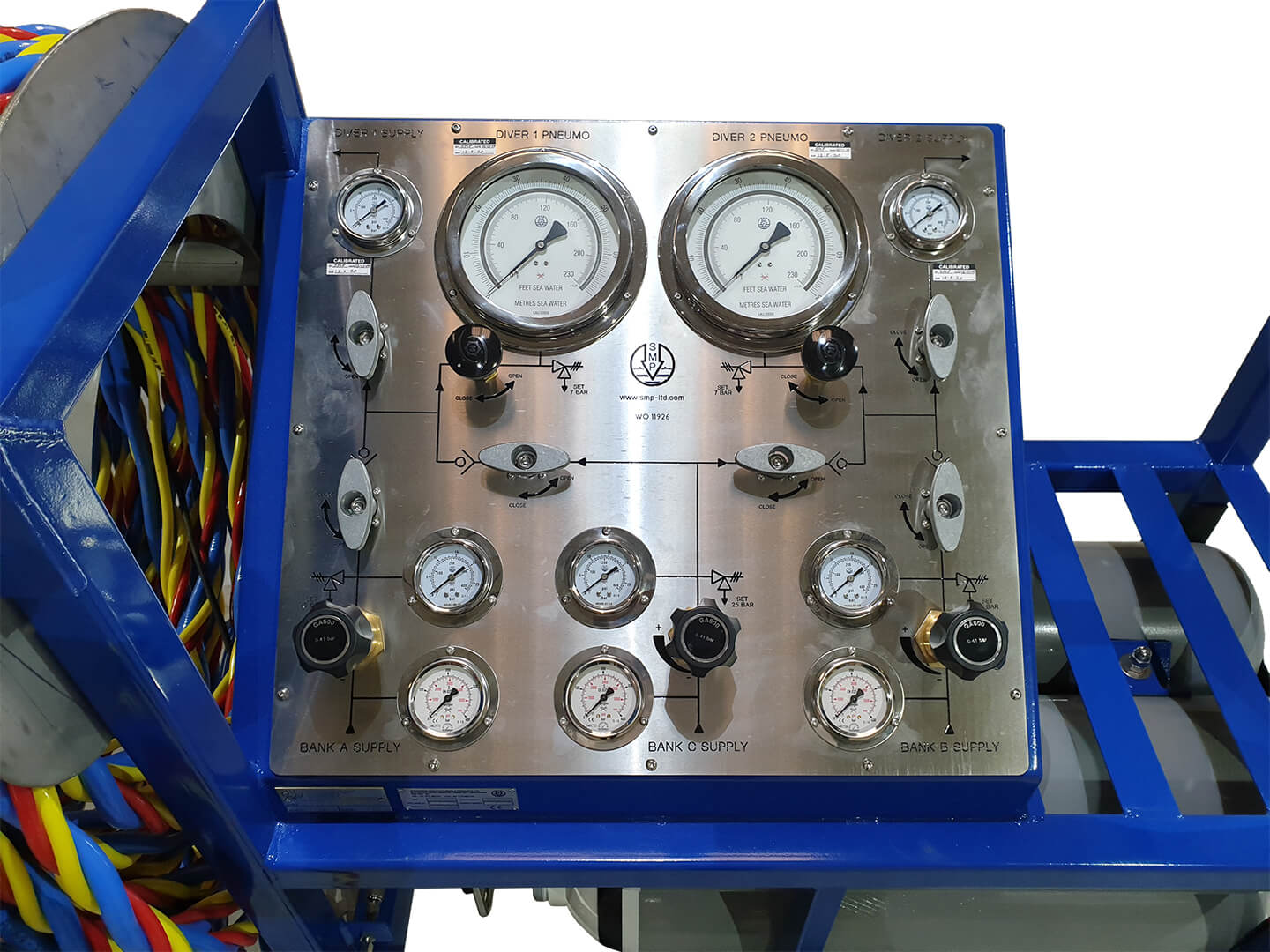 SMP gauges on containerised diving system