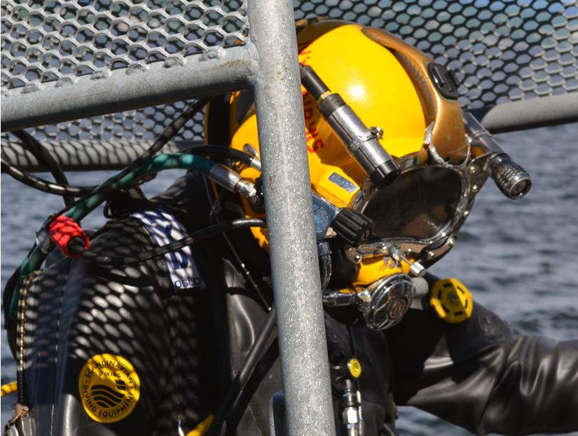 Diver in Kirby Morgan diving helmet