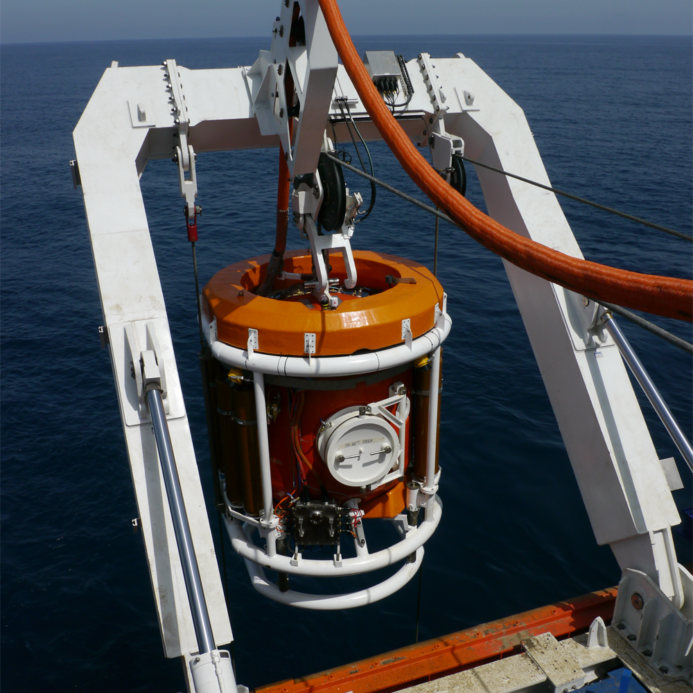 Saturation Diving Systems being lowered into sea