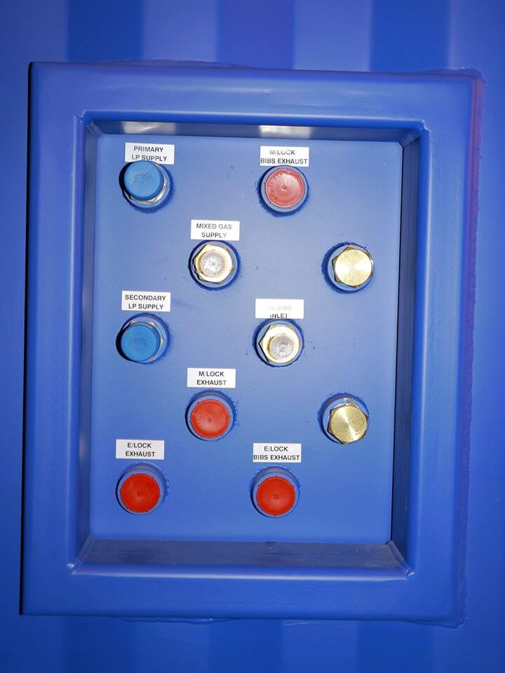 control panel buttons on containerised dive system