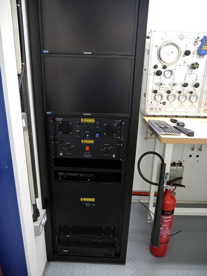 control panels in containerised dive system