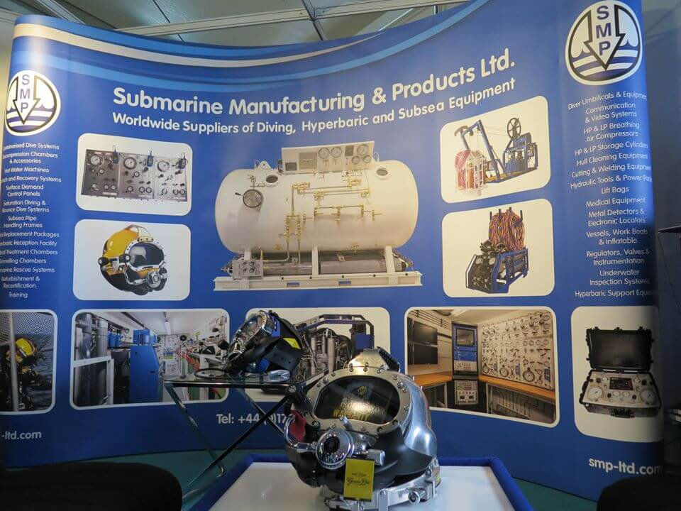 SMP exhibition stand with Kirby Commercial diving helmet