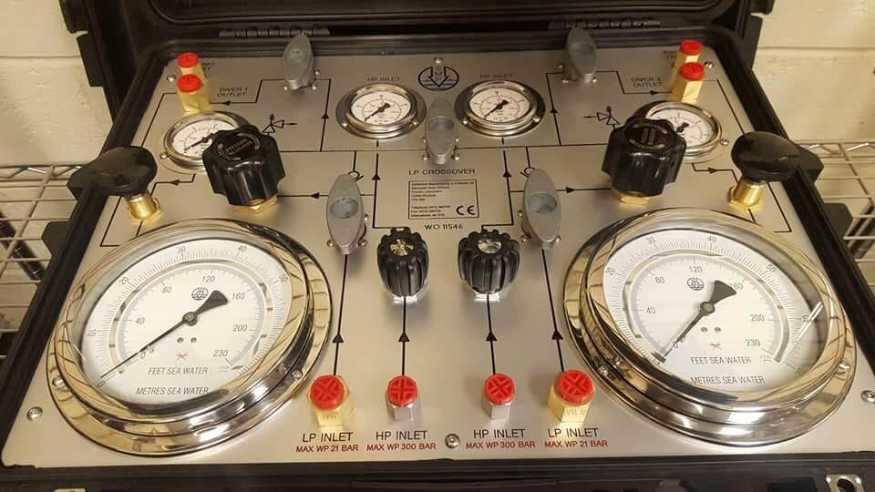 Diver panel close up on pressure gauges