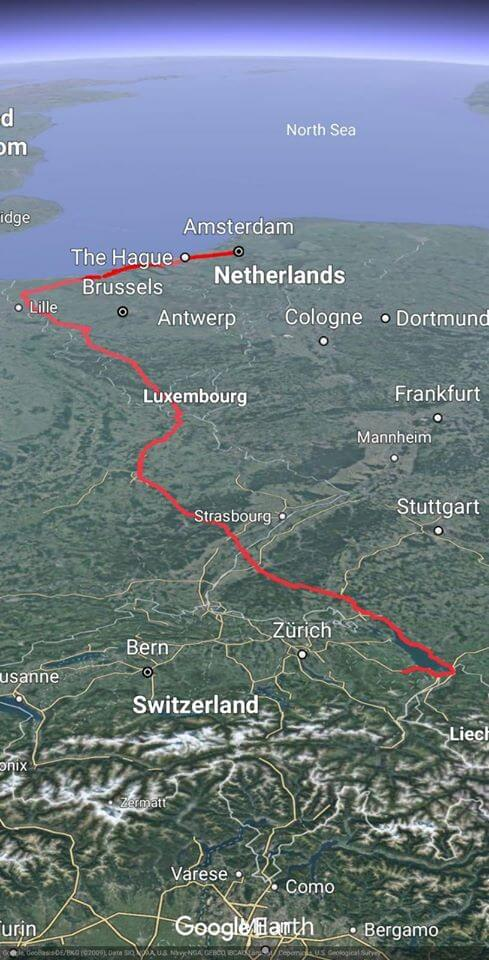 Map of cycling event - 7 countries in 7 days
