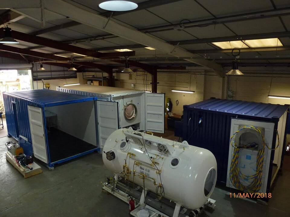 containerised dive chamber under construction