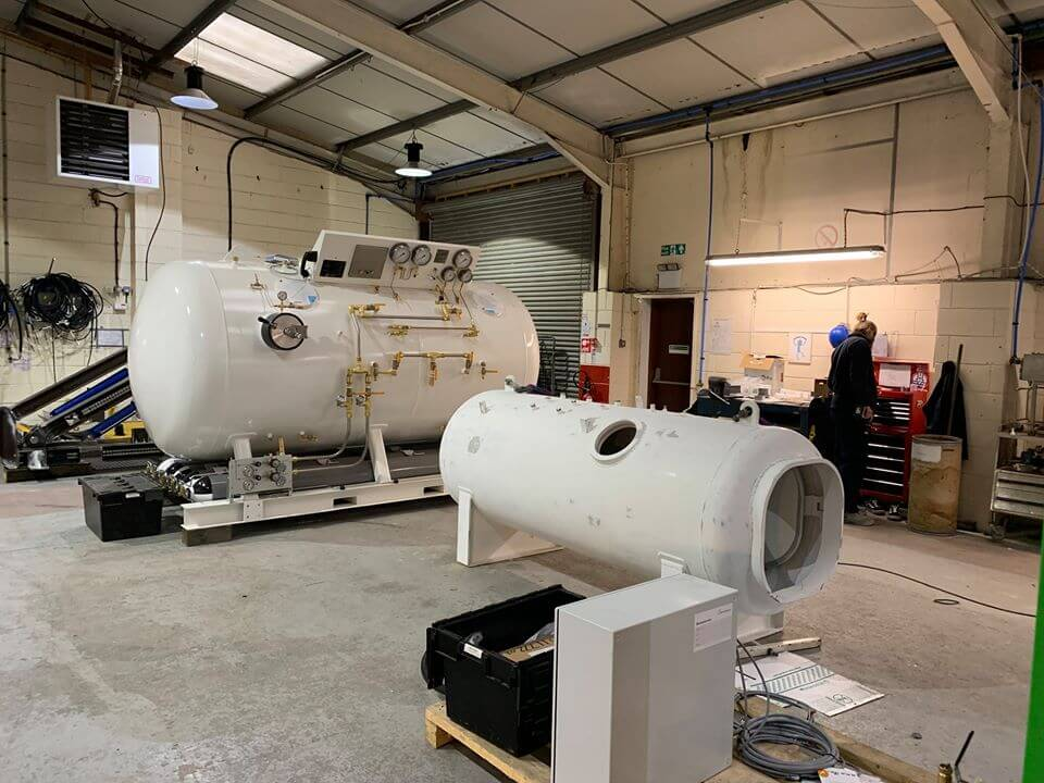 single and large hyperbaric chambers in warehouse under construction