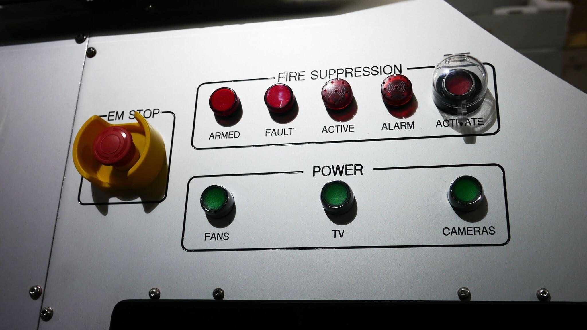 V6 automatic chamber panel fire suppression controls