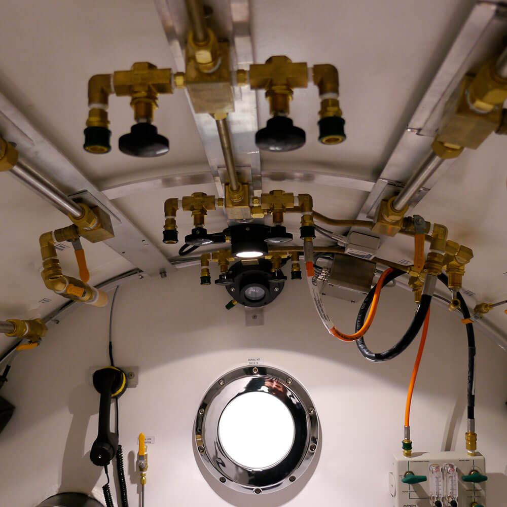 roof pipework inside hyperbaric chamber