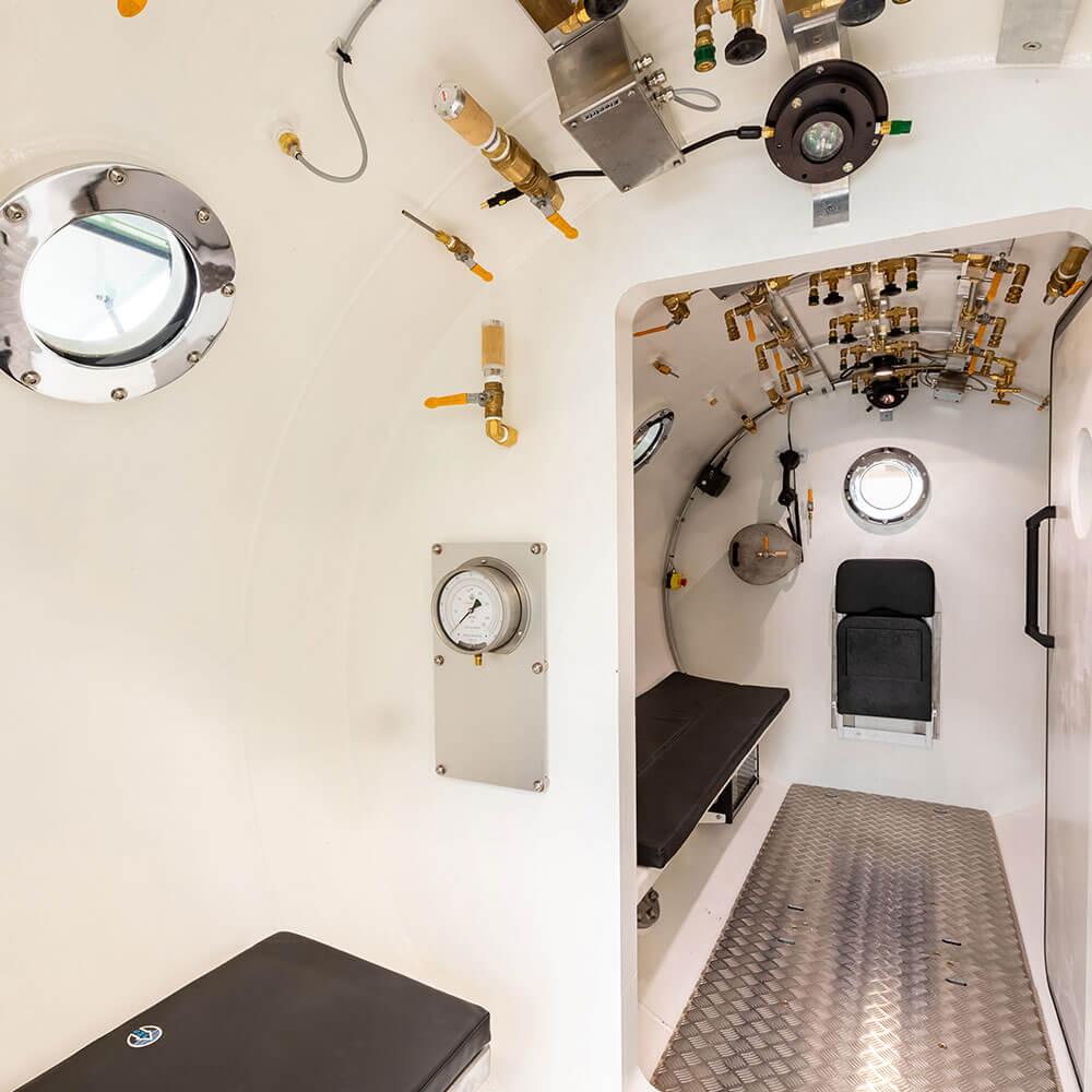 inside hyperbaric chamber in Guernsey hospital