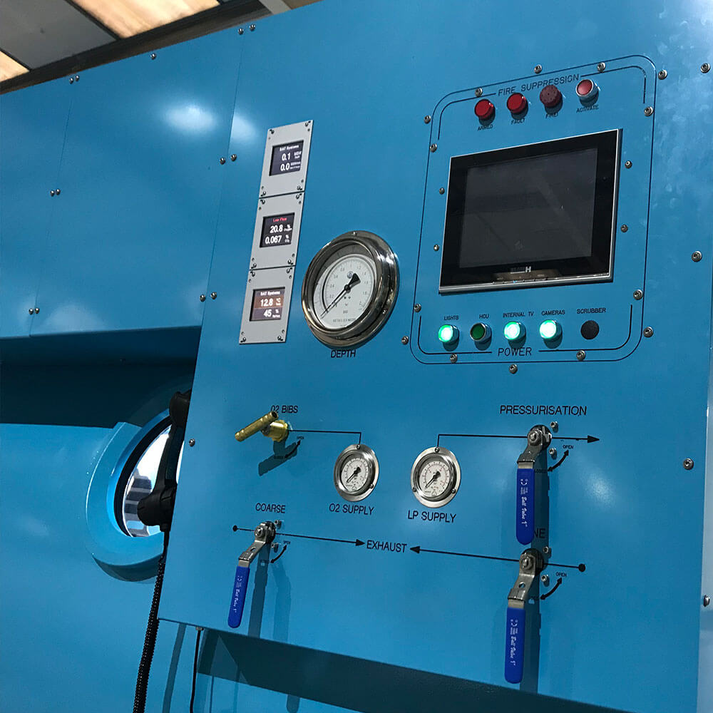 side control panel of hyperbaric chamber