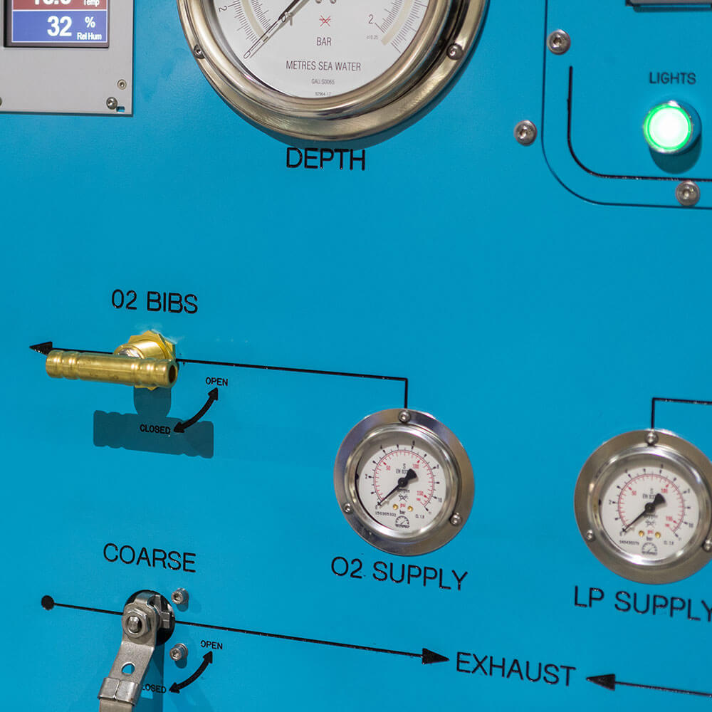 pressure gauges of hyperbaric chamber control panel