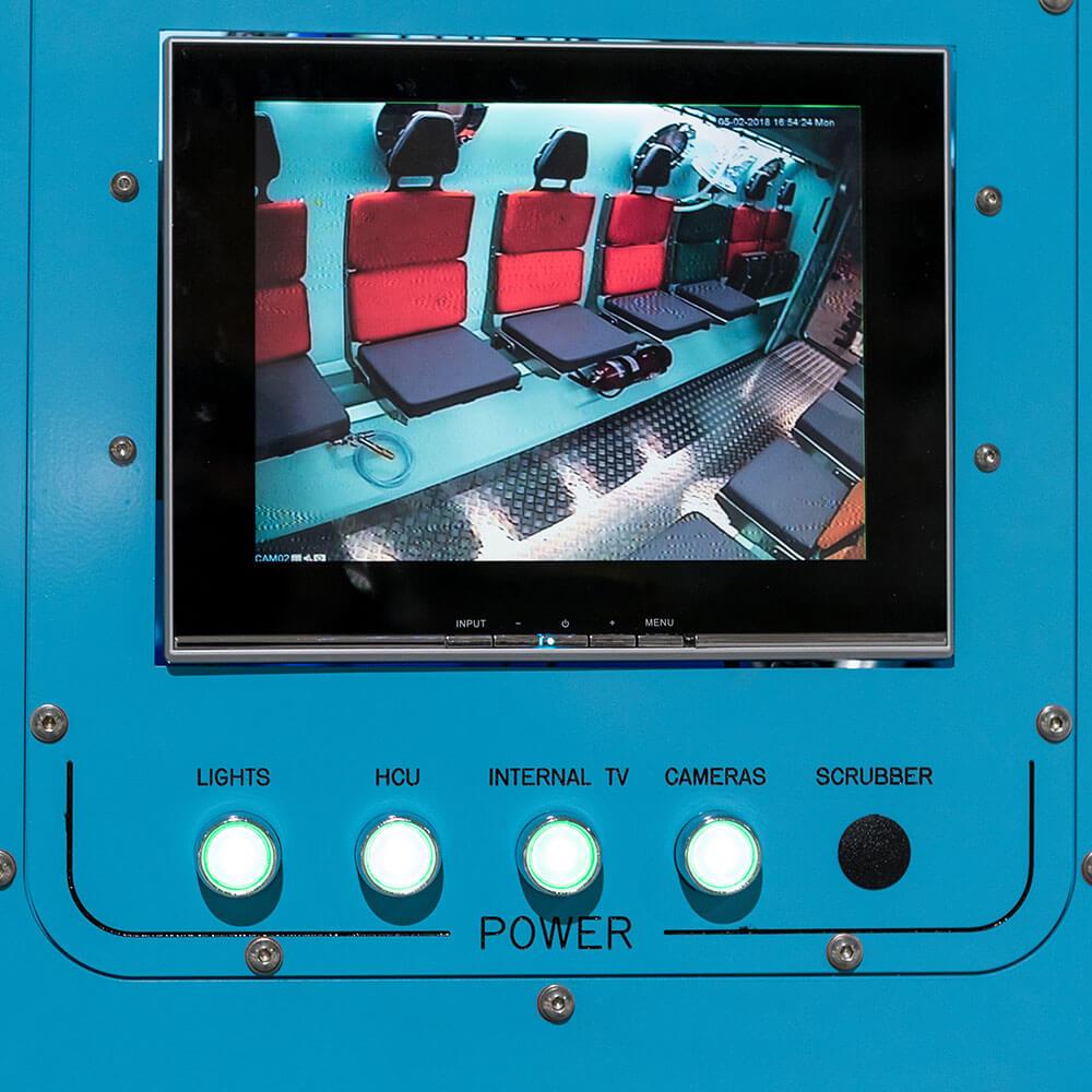 internal video view of hyperbaric chamber