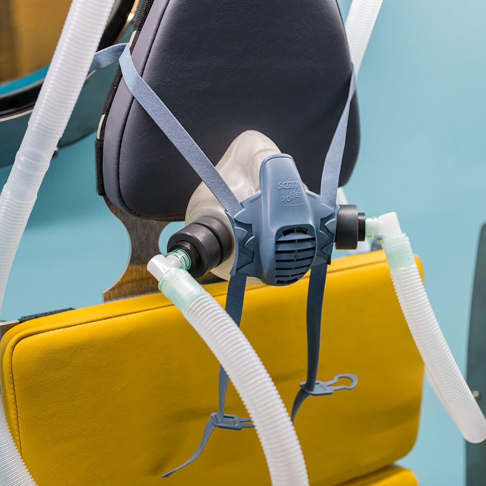seat in hyperbaric chamber close up