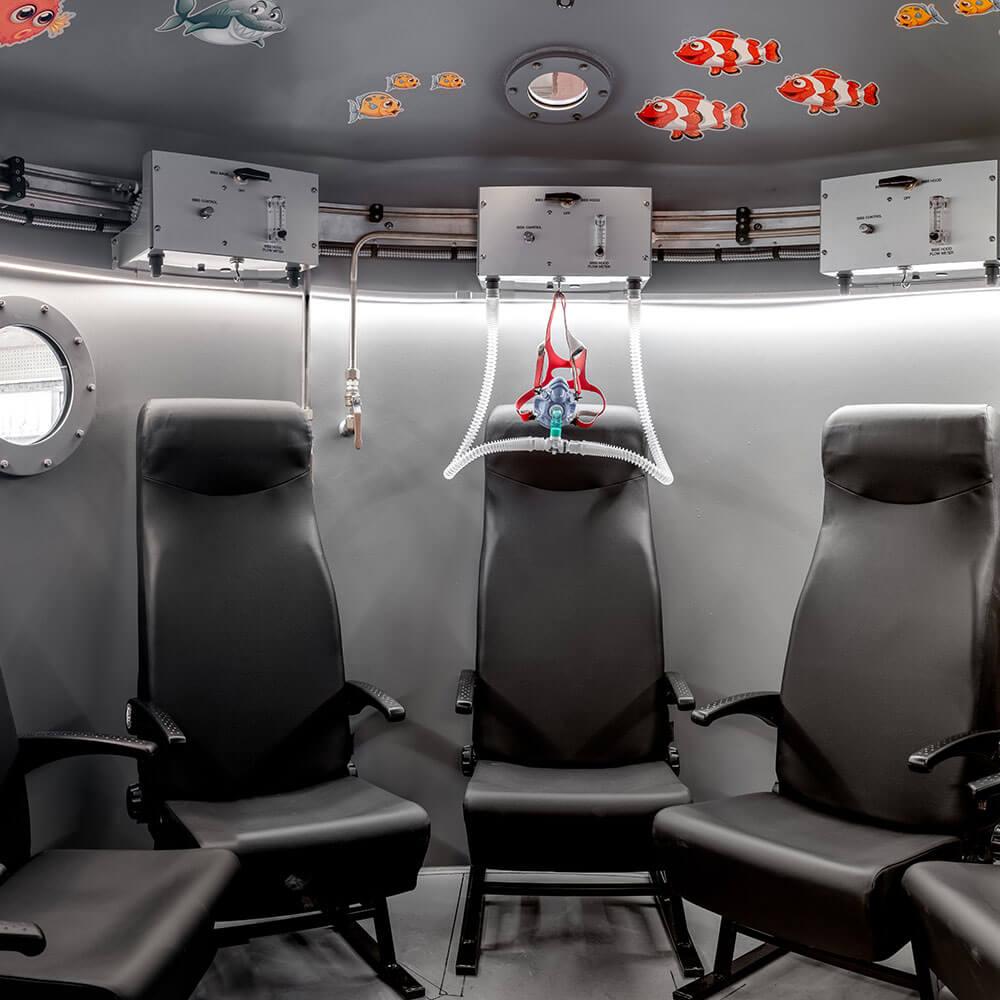 interior of small hyperbaric oxygen chamber