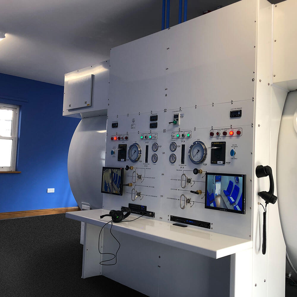main control centre of hyperbaric chamber in guernsey