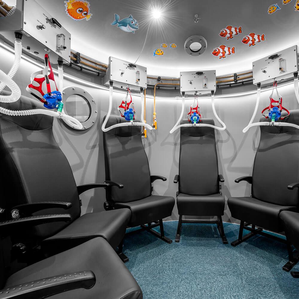 circular seating area inside hyperbaric chamber