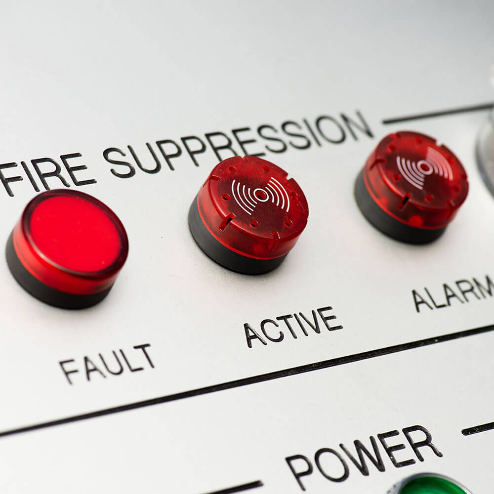 close up of fire suppression system