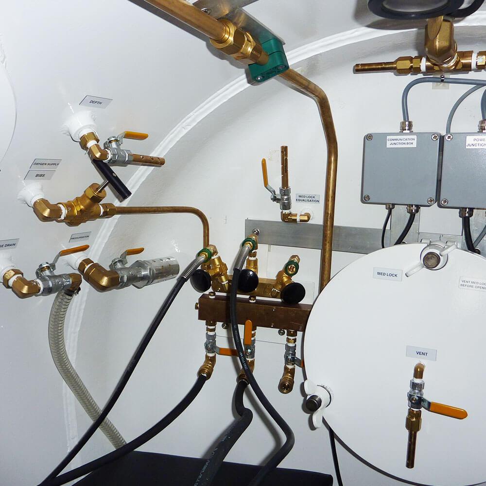 Hyperbaric chamber Interior Pressure Valves