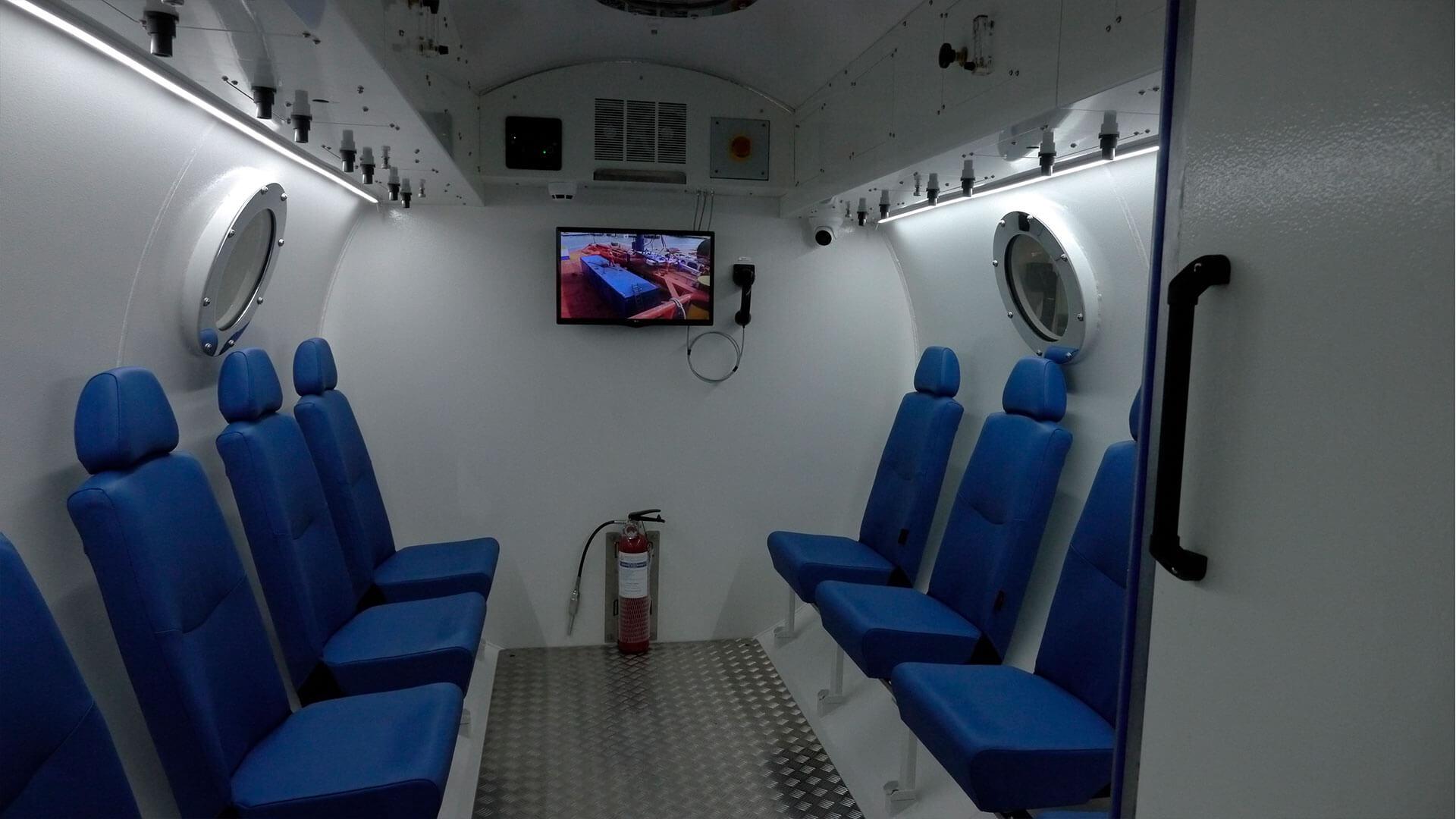 Full interior shot of hyperbaric chamber