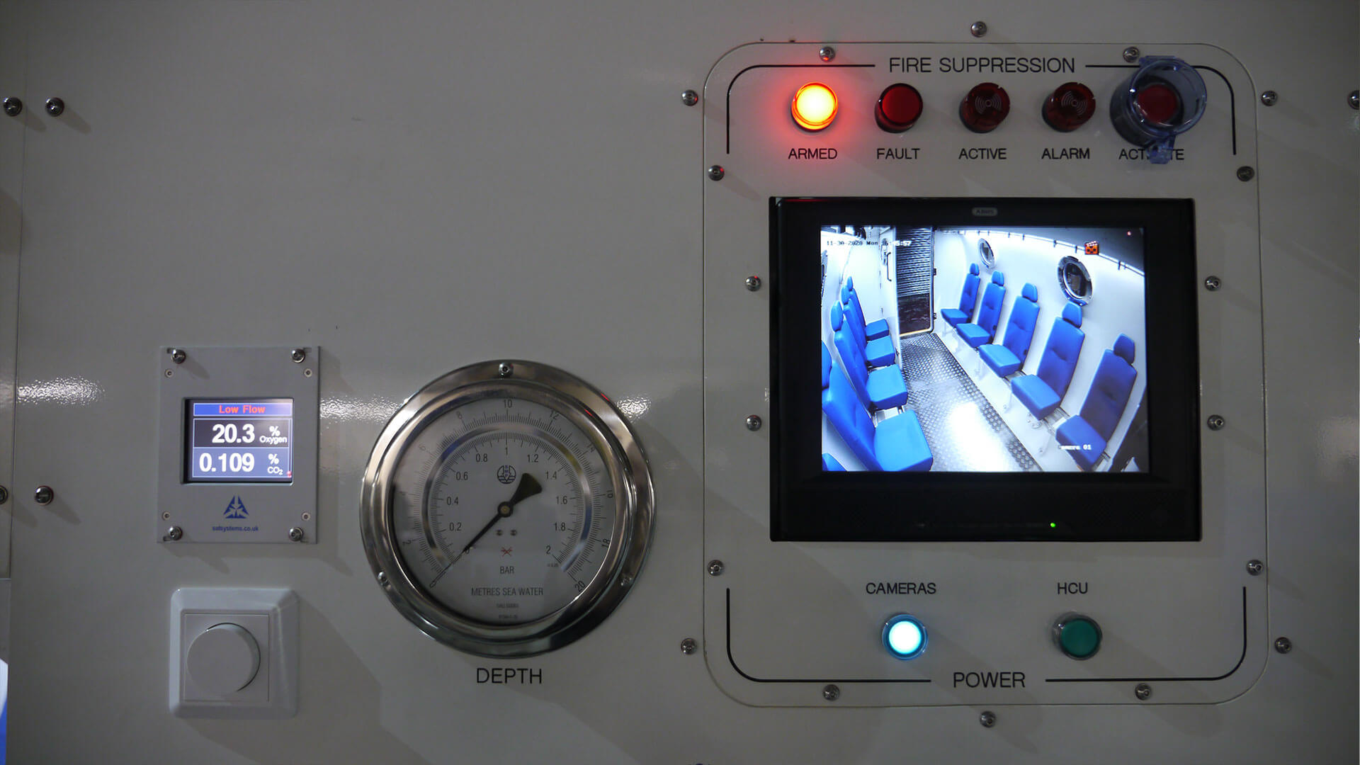 close up of exterior hyperbaric chamber control panel