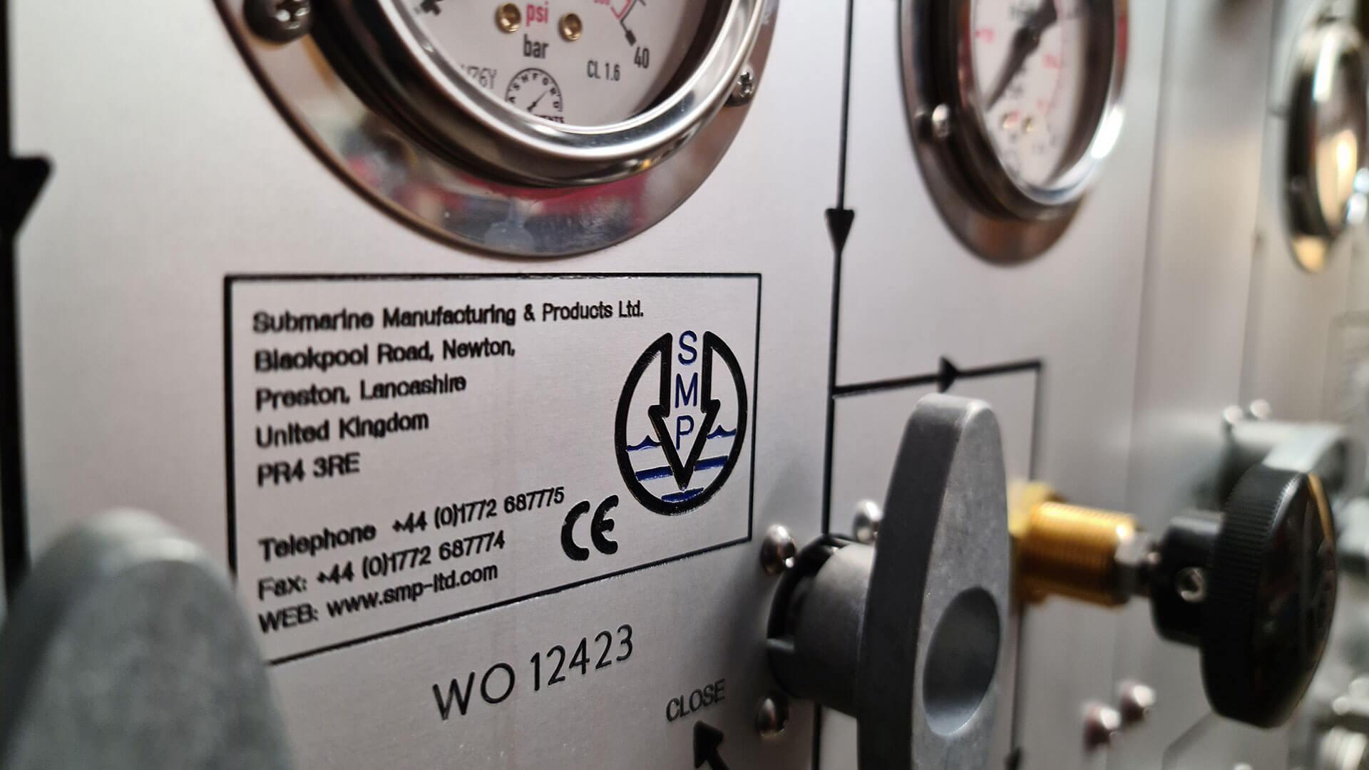 bespoke divers nitrox/air panel